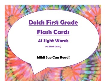Dolch First Grade Sight Word Flash Cards (Tie Dye with Purple Lettering)