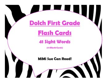 Dolch First Grade Sight Word Flash Cards (Zebra with Hot Pink Lettering)