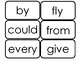 Dolch First Grade Sight Word Flash Cards in a PDF file.  F