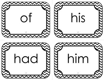 Dolch First Grade Sight Word Flash Cards (with Chevron Frame)