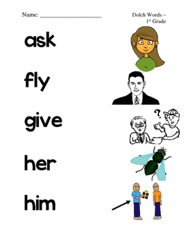 Dolch First Grade Sight Word Picture Match