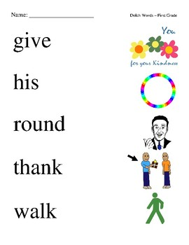 #2. Dolch First Grade Sight Word Picture Match