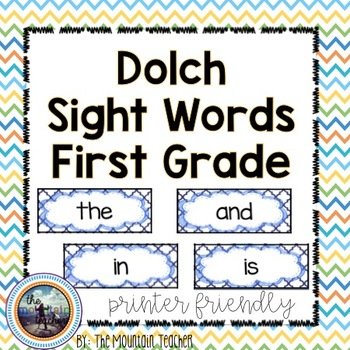 Dolch First Grade Sight Word Rings/Word Wall Words/Flash Cards