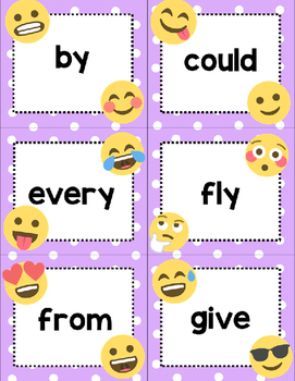 Dolch First Grade Sight Words Cards- Emoji Theme