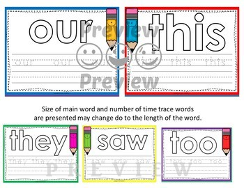 Dolch First Grade Word Mats - Build and Write -  Color