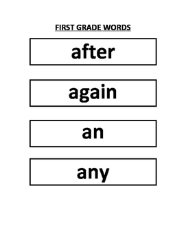 Dolch First Grade Word Wall Words