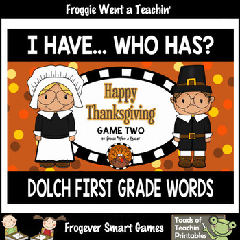 "Dolch First Grade Words I Have... Who Has? ""Happy Thanksgiving"""