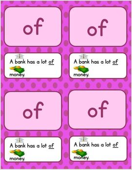 Dolch First Grade Words and Sentences Practice Cards