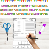 Dolch Sight Word Cut and Paste Worksheets 1st Grd High Frequency Word Printables