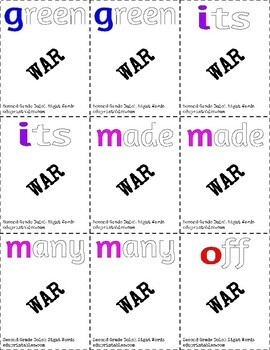 Dolch First Grade and Second Grade Sight Words War BUNDLE