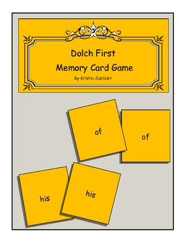 Dolch First Site Word Matching Game