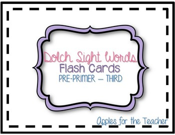 Dolch Flash Cards