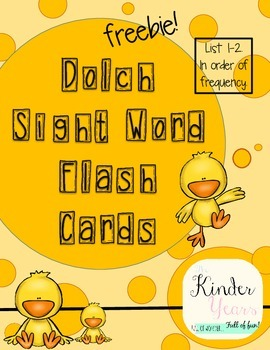 Dolch Flash Cards_List 1 & 2
