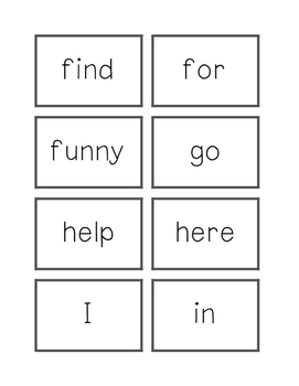 Dolch Flashcards Preprimer Words