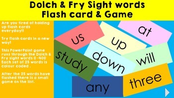 Dolch & Fry - PowerPoint Flashcards + Interactive Games
