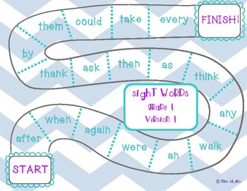 Dolch Grade 1 Sight Words Game Boards