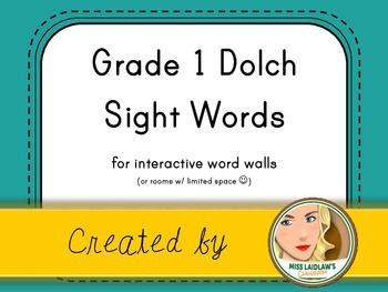 Dolch Grade 1 Sight Words for Word Walls and Games (Aqua-Green)