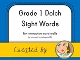 Dolch Grade 1 Sight Words for Word Walls and Games (Blue)
