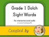 Dolch Grade 1 Sight Words for Word Walls and Games (Green)