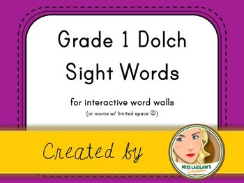 Dolch Grade 1 Sight Words for Word Walls and Games (Purple)