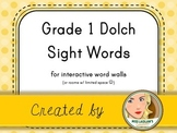 Dolch Grade 1 Sight Words for Word Walls and Games (yellow
