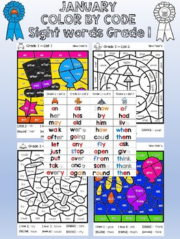 Dolch Grade 1 sight word Color-by-Code - January / New Year