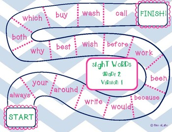 Dolch Grade 2 Sight Words Game Boards