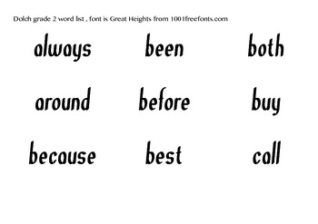 Dolch Grade 2 sight words