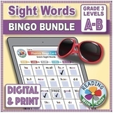 Dolch Grade 3 Sight Words Bingo BUNDLE: Digital & Print - EASY Phonics Games