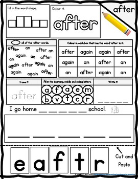 Dolch Grade One Colour and Trace Practice Worksheets