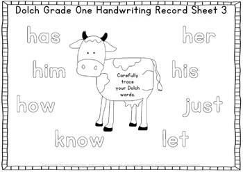 Dolch Grade One Handwriting Cards Center with Record Sheets - 16 pages