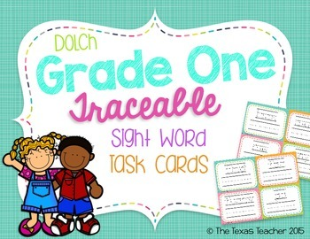 Dolch Grade One Traceable Sight Word Task Cards