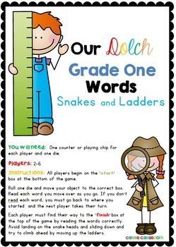 Dolch Grade One Words Snakes and Ladders Games
