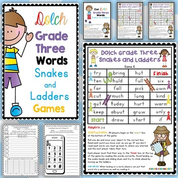 Dolch Grade Three Words Snakes and Ladders Games