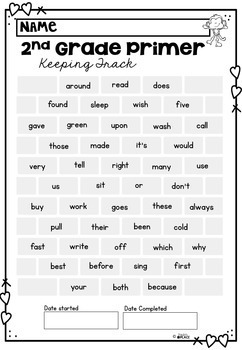 Dolch Sight Word Assessment and Tracking Grade Two