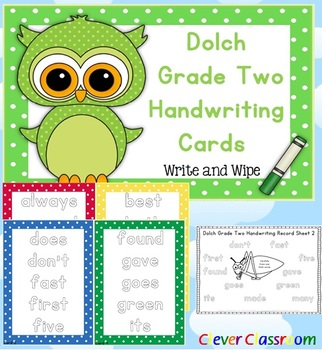 Dolch Grade Two Handwriting Cards Center with Record Sheet