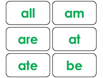 Dolch Green Bold Text Primer Sight Word Flash Cards in a PDF file. PreK-KDG