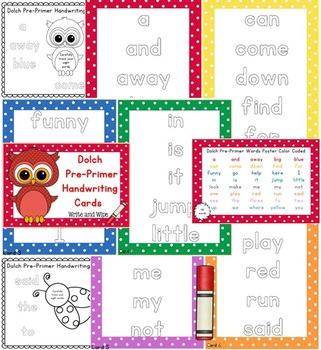 Dolch Handwriting Center Cards Bundle - {all five lists} Polka Dot Theme 80 pgs