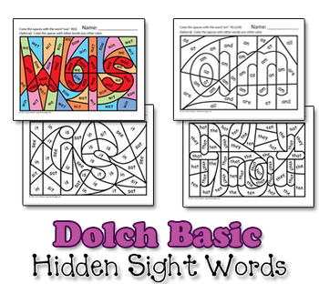 Dolch Hidden Sight Word Worksheets - Basic 48 - Heidi Songs