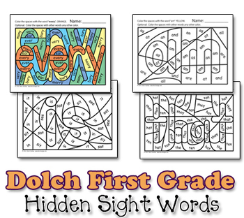 Dolch Hidden Sight Word Worksheets - First Grade
