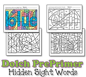 Dolch Hidden Sight Word Worksheets - Pre-Primer