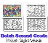 Dolch Hidden Sight Word Worksheets - Second Grade