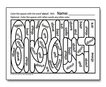 Dolch Hidden Sight Word Worksheets - Third Grade