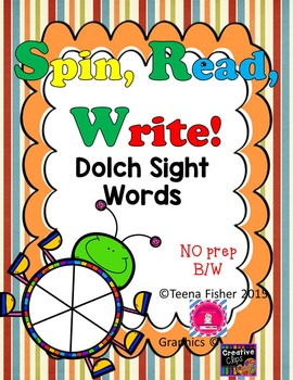 Dolch High Frequency Sight Word, Spin, Read, & Write NO PREP Low Ink ALL words