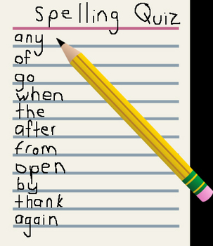 Dolch High Frequency Words Audio Spelling Quiz #20