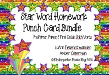 Dolch High Frequency/Sight Word Bundle - Pre-Primer, Primer &1st-Gr. Punch Cards