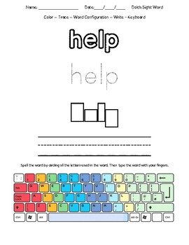 Dolch Keyboarding Template - All 220 Sight Words
