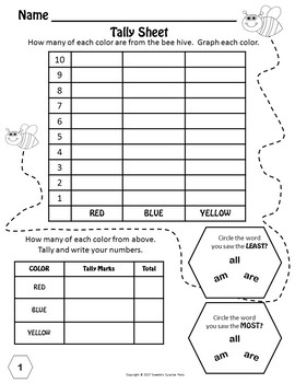 Dolch Kindergarten Sight Words - Find, Color, Graph, and Tally - Bee Theme