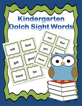 Dolch Kindergarten Sight Words Flash Cards