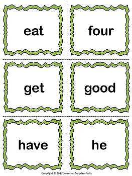 Dolch Kindergarten Sight Words Flash Cards